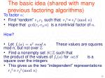 the basic idea shared with many previous factoring algorithms