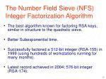 the number field sieve nfs integer factorization algorithm