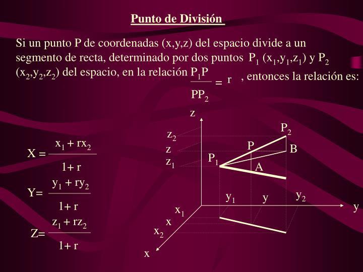 Si un punto P de coordenadas (x,y,z) del espacio divide a un segmento de recta, determinado por dos puntos