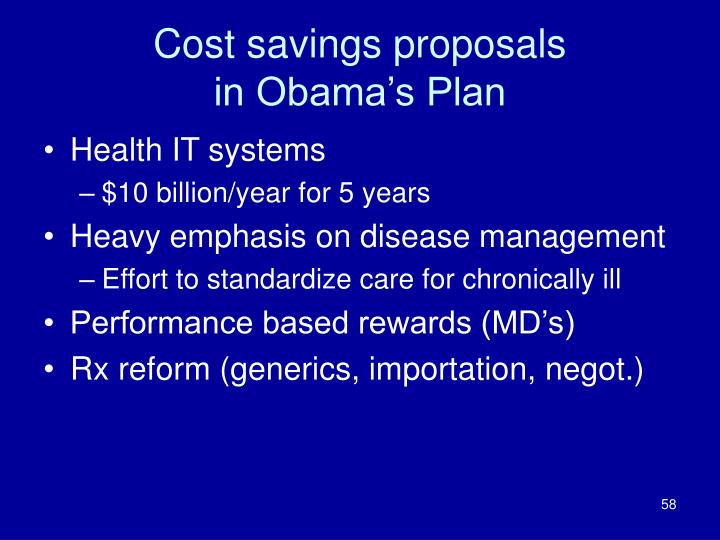 Cost savings proposals
