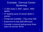 example cervical cancer screening