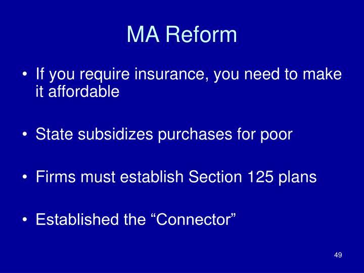 MA Reform