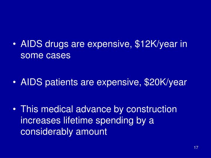 AIDS drugs are expensive, $12K/year in some cases