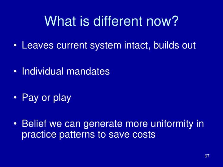 What is different now?