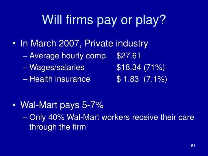 Will firms pay or play?