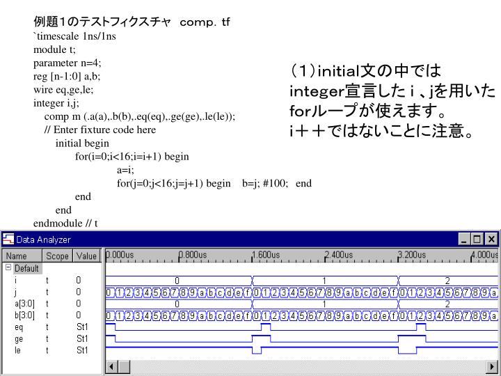 例題1のテストフィクスチャ comp.tf