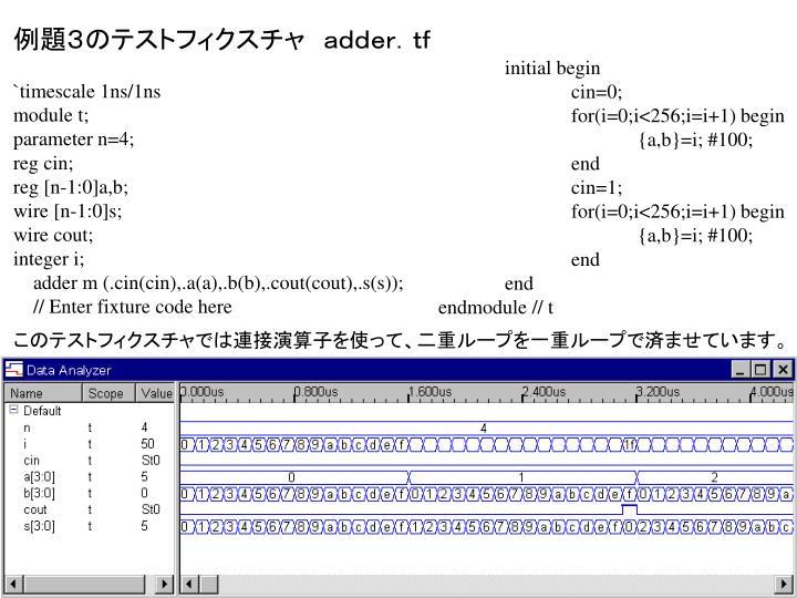 例題3のテストフィクスチャ adder.tf