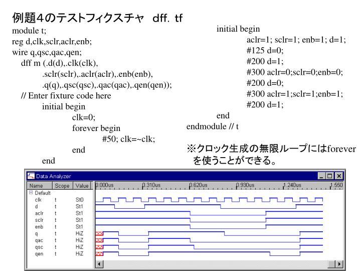 例題4のテストフィクスチャ dff.tf