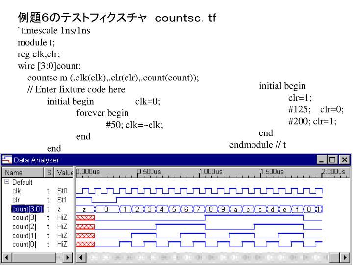 例題6のテストフィクスチャ countsc.tf