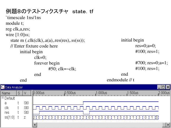 例題8のテストフィクスチャ state.tf