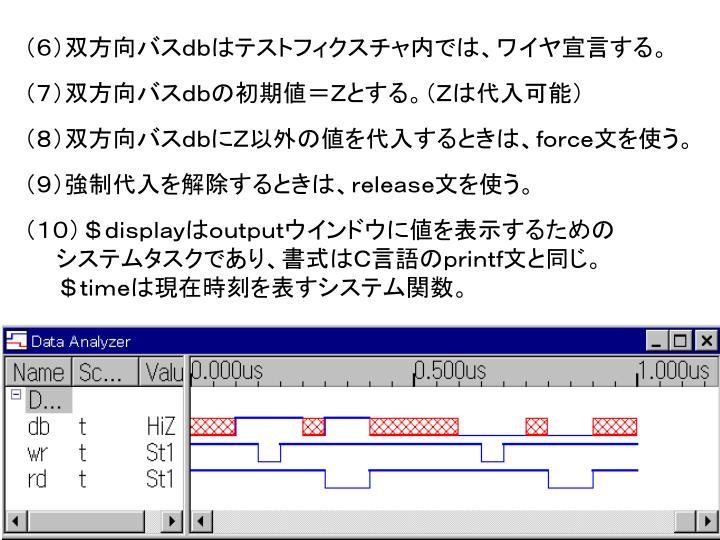 (6)双方向バスdbはテストフィクスチャ内では、ワイヤ宣言する。