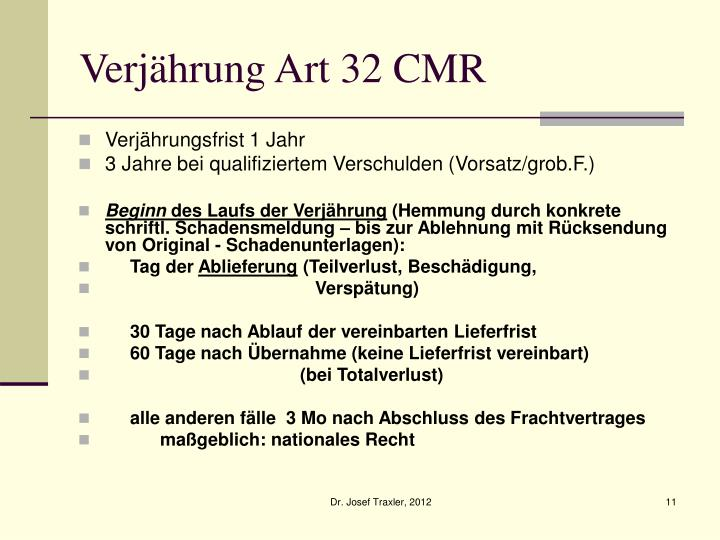 Verjährung Art 32 CMR