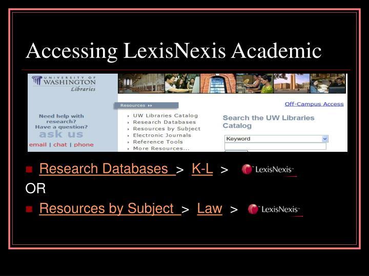 Accessing LexisNexis Academic