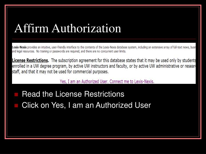 Affirm Authorization