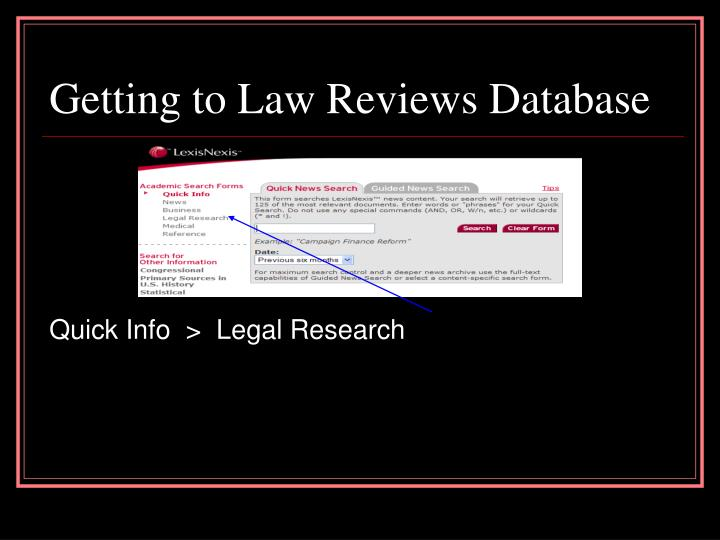 Getting to Law Reviews Database