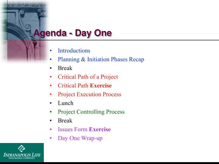 Agenda - Day One