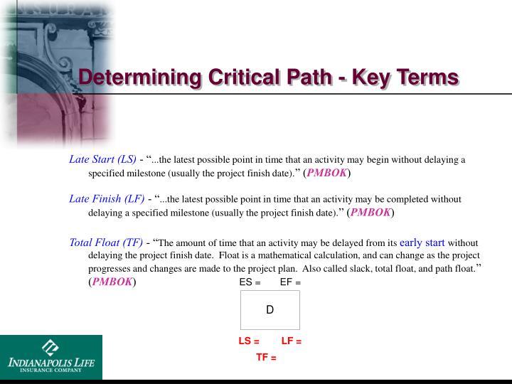 Determining Critical Path - Key Terms