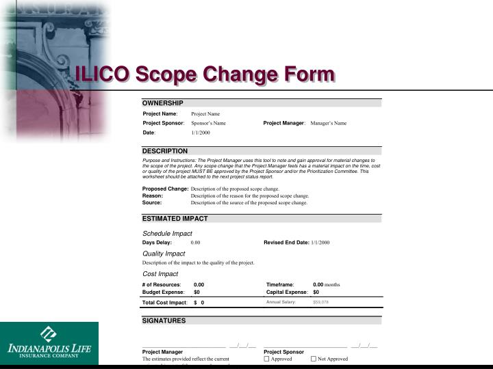 ILICO Scope Change Form