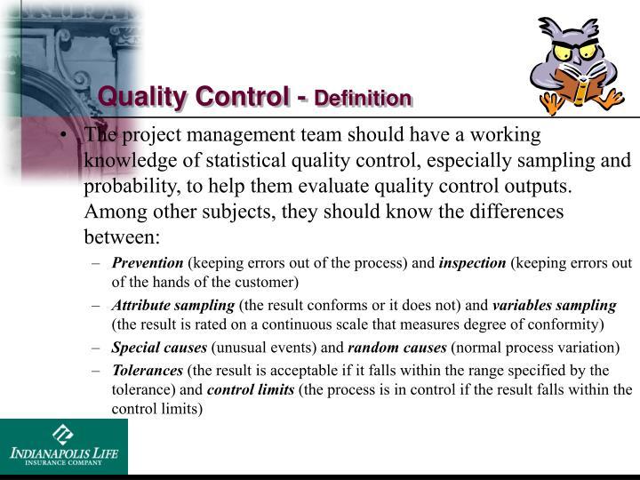 Quality Control -