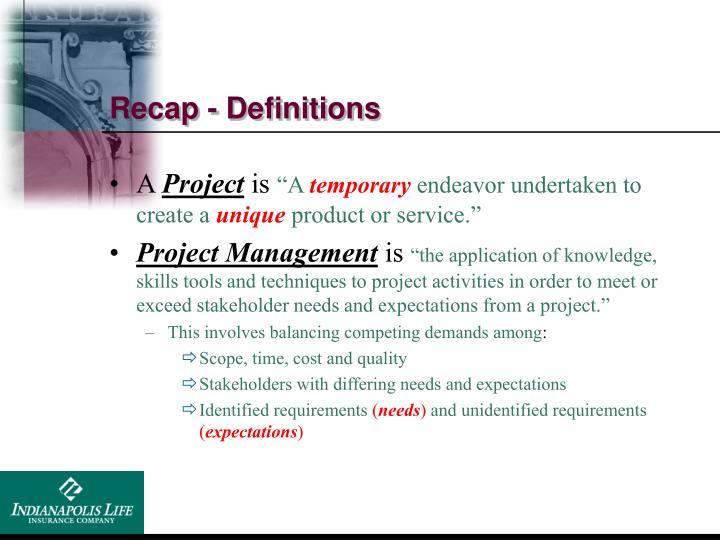 Recap - Definitions