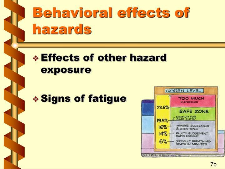 Behavioral effects of hazards