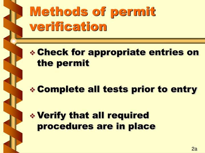 Methods of permit verification
