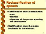 reclassification of spaces1
