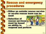 rescue and emergency procedures