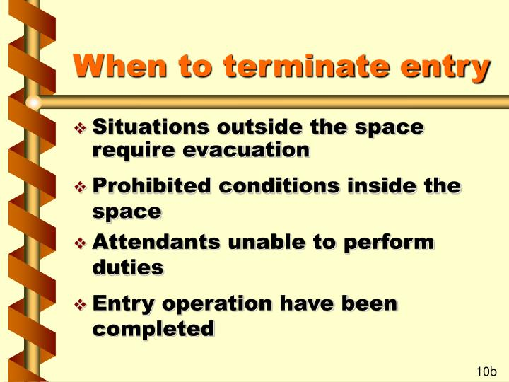 When to terminate entry