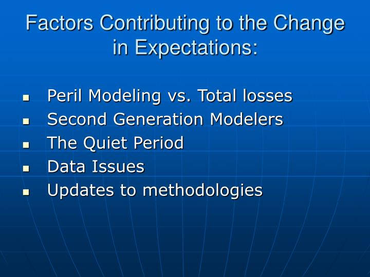 Factors Contributing to the Change in Expectations: