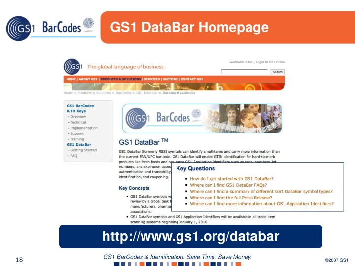 GS1 DataBar Homepage