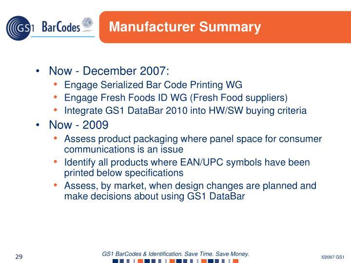 Manufacturer Summary