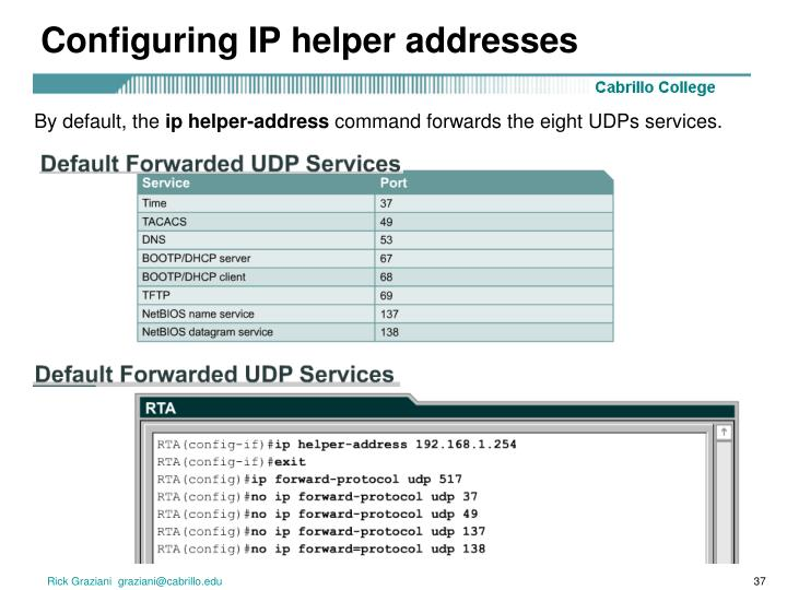Configuring IP helper addresses