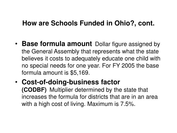 How are Schools Funded in Ohio?, cont.