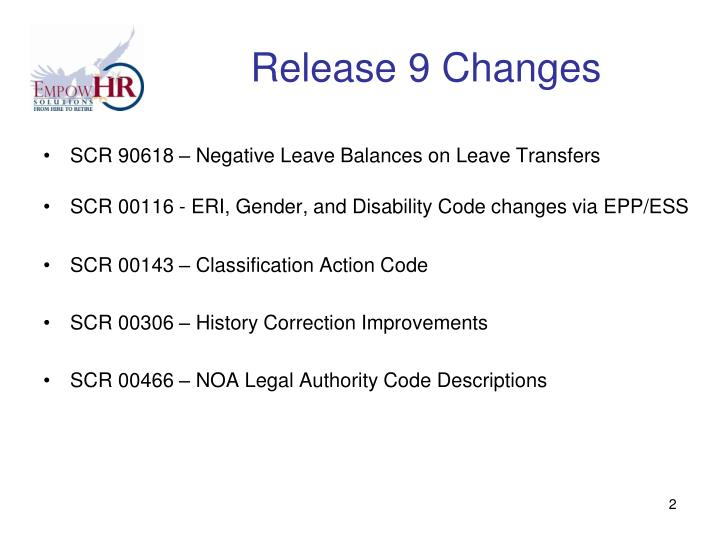 Release 9 changes
