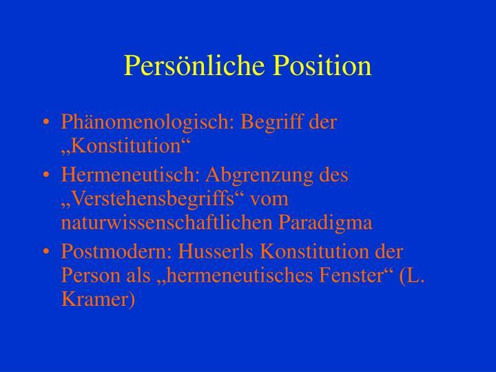 Persönliche Position