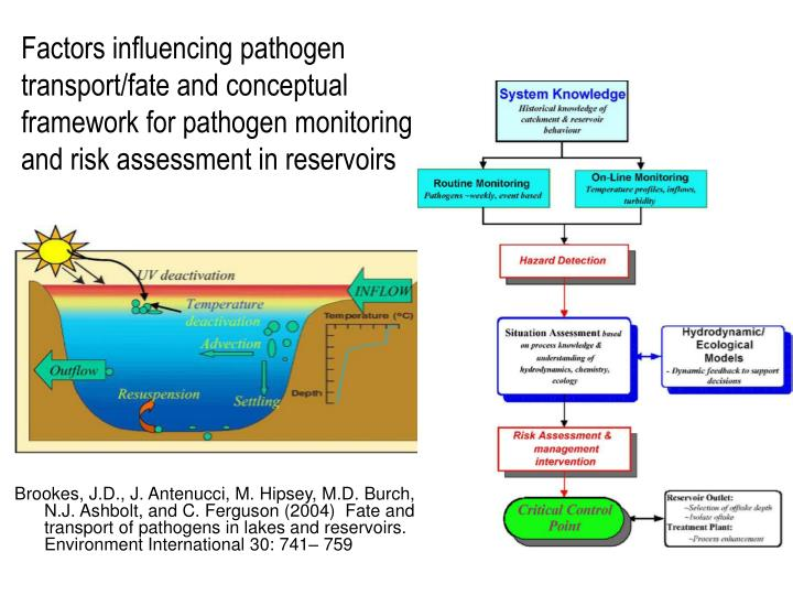 Factors influencing pathogen transport/fate and conceptual framework for pathogen monitoring and risk assessment in reservoirs