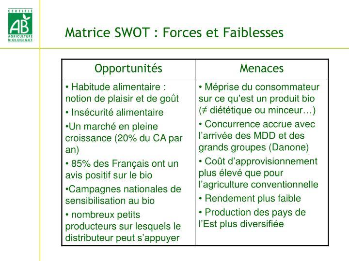 Matrice SWOT : Forces et Faiblesses