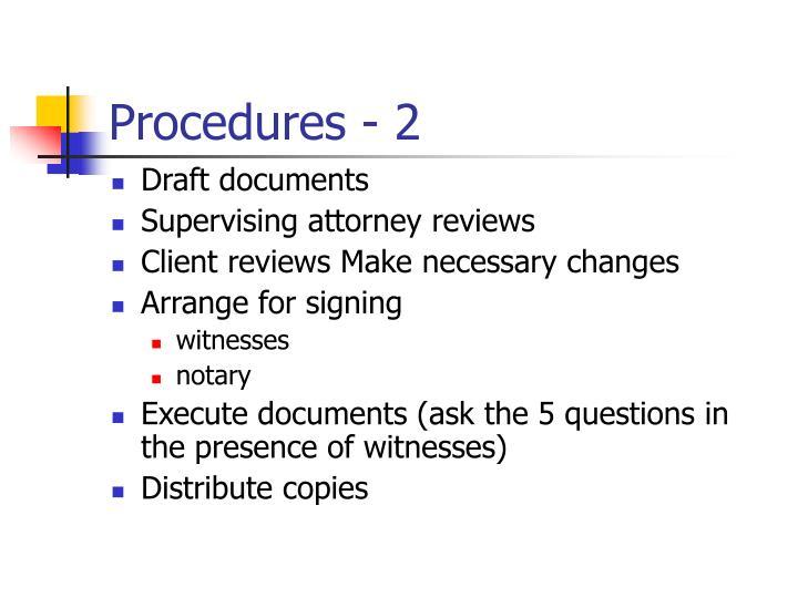 Procedures - 2
