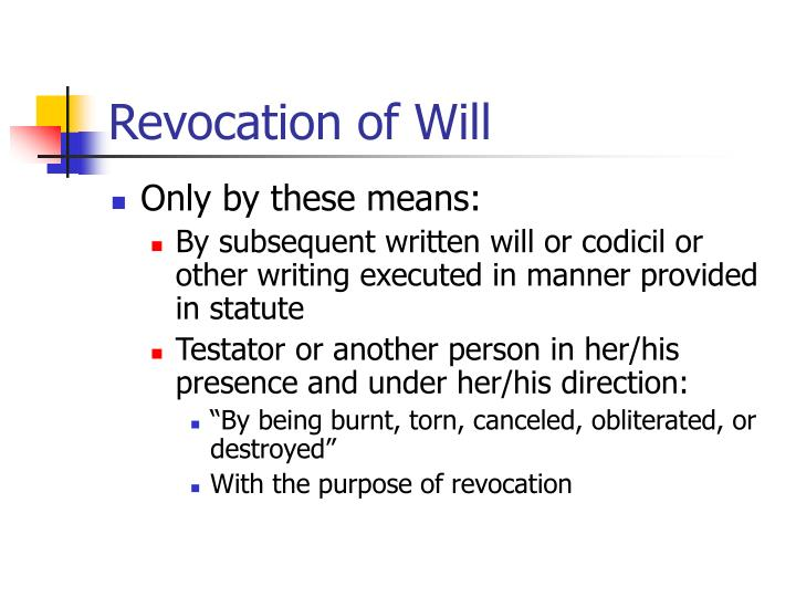 Revocation of Will