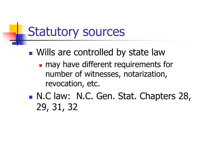 Statutory sources