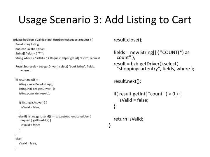 Usage Scenario 3: Add Listing to Cart