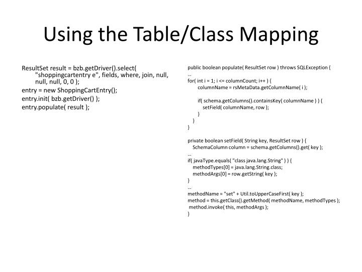 Using the Table/Class Mapping