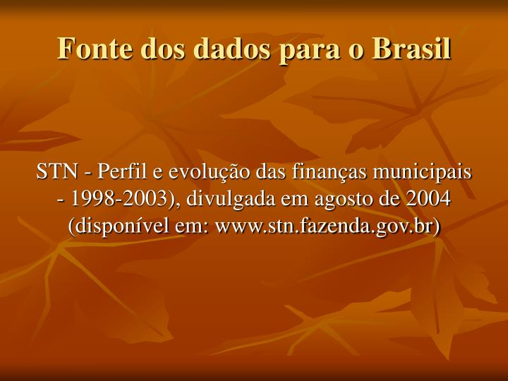 Fonte dos dados para o Brasil