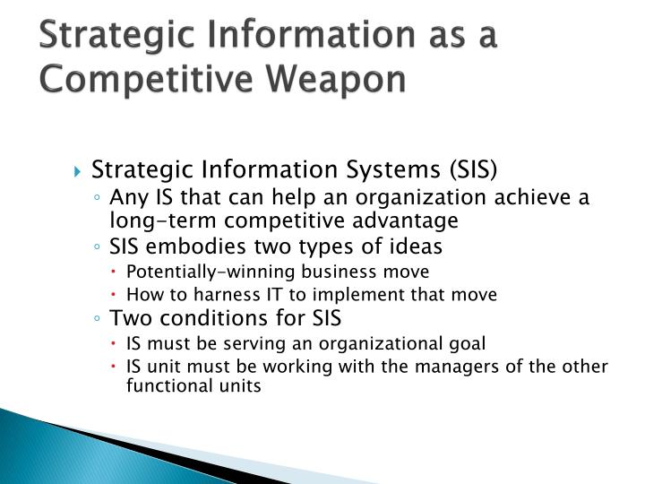 Strategic Information as a Competitive Weapon