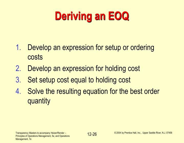 Deriving an EOQ