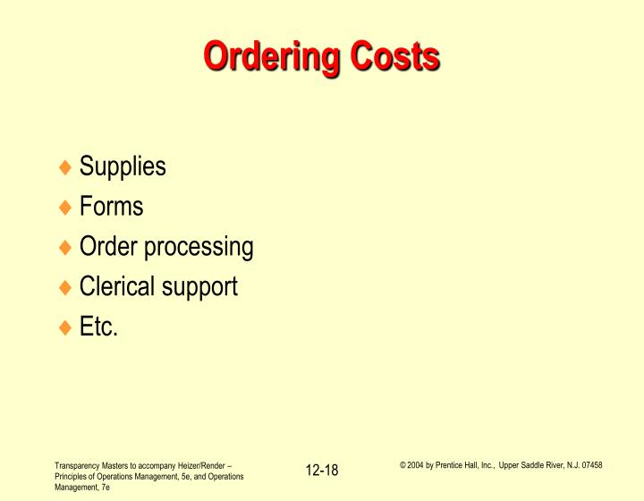Ordering Costs