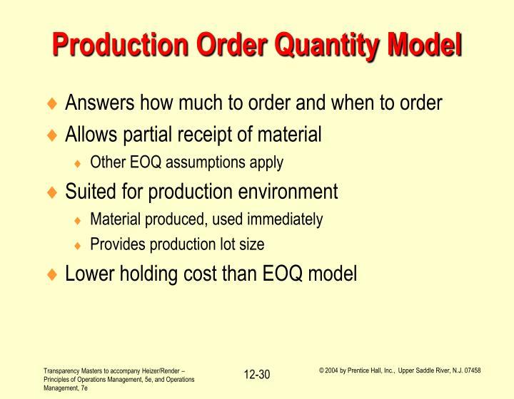 Production Order Quantity Model