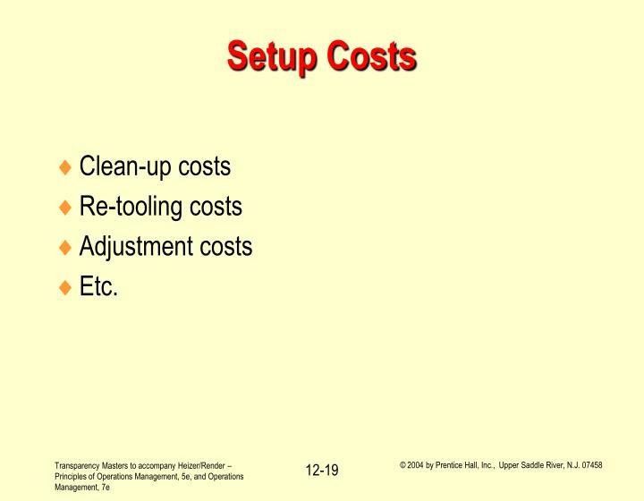 Setup Costs