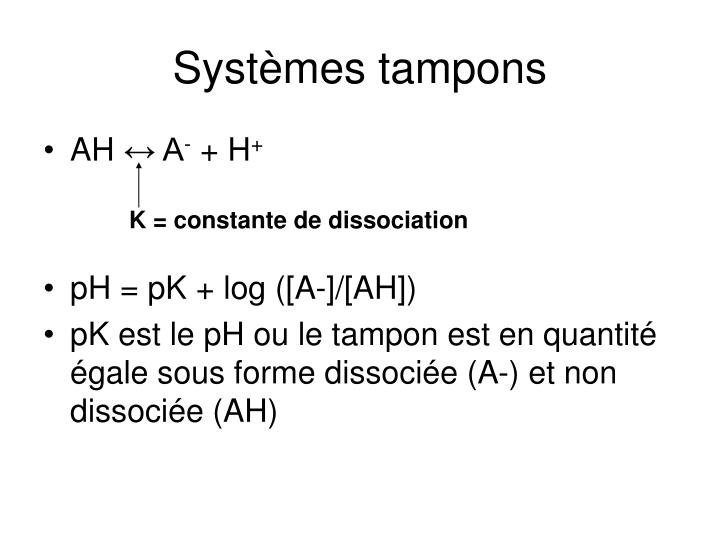 Systèmes tampons